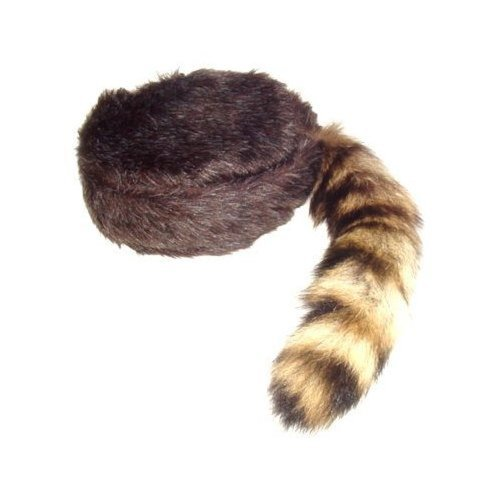 Davy Crockett or Daniel Boon Style CoonSkin Hat Cap with Real Tail Size Large to X Large