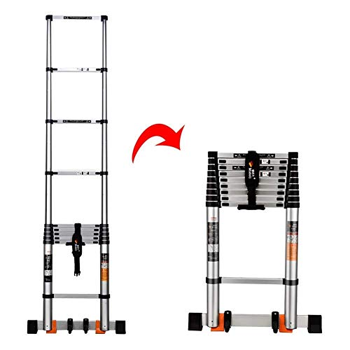 LADDERS Ladder Telescopic Ladders,Heavy Duty Atelescoping Straight Ladder, Multi Purpose Engineering Telescopic Extension Ladder for Loft, 330Lbs Capacity,3.9M/12.8Ft