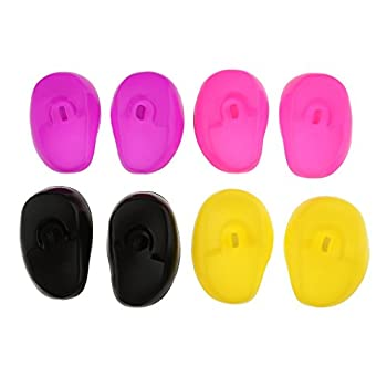 8 Pieces Reusable Silicon Ear Protectors Salon Hairstyle Waterproof Ear Covers Fit for Hair Dye Shower Bathing Random Color