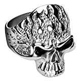 316L Surgical Stainless Steel Flam'in Skull Ring - Size:14
