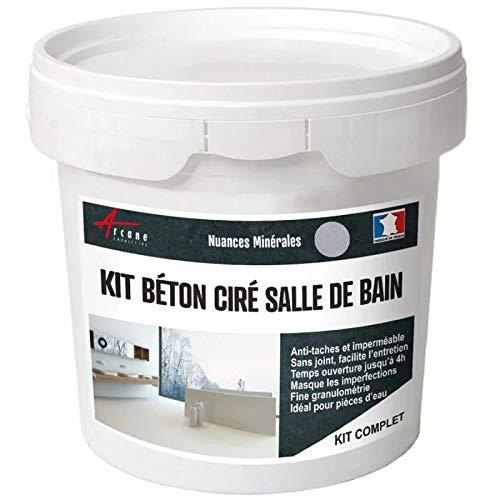 BETON CIRÉ: Kit BETONBESCHICHTUNG | KUNSTHARZ-BETON Badezimmer begehbare Dusche - Wasserdichte Beschichtung - Titan-Hellgrau - kit 10 m2 (2 couches)