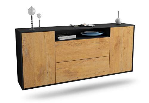 Dekati Sideboard Thousand Oaks hängend (180x77x35cm) Korpus anthrazit matt   Front Holz-Design Eiche   Push-to-Open