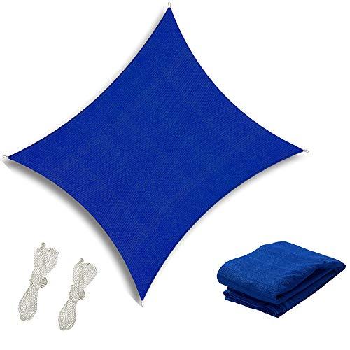 re-Share Sonnensegel, quadratisch, HDPE, atmungsaktiv, UV-Schutz, für Garten, Terrasse, Seile 6 m x 6 m, Blau