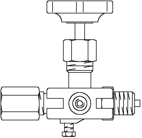 Oventrop Manometer Absperr-Ventil 1/2 PN 250 mit Prüfflansch, stahl