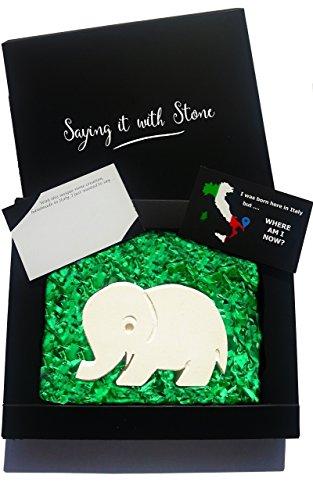 Elefant aus Stein Handgemacht in Italien - Symbol für Glück, Familienliebe, Stärke, Selbstvertrauen, Geduld und Stolz - Box und Nachrichtenkarte enthalten - Vatertag Geschenk Glücksbringer
