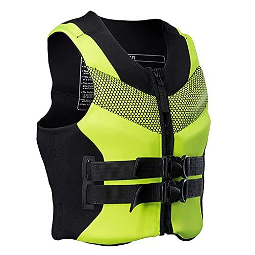 Chaleco de vida para adultos, chaleco de natación Chaleco de ayuda para la flotación para la pesca de navegación navegando en bote para deportes acuáticos,Verde,XL