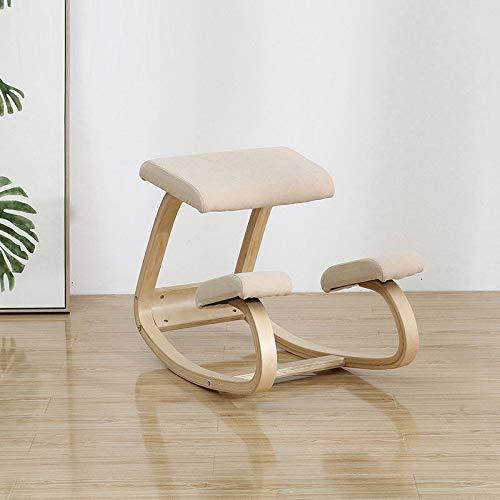 Haus Dekoration Büroanschlussstuhl Buckelback Präventionsstühle Kind sitzen Haltung Korrekter Stuhl Taille Schutz Verbessern Sie die Wirbelsäule Rückenschmerzen (Color : Velvet beige)