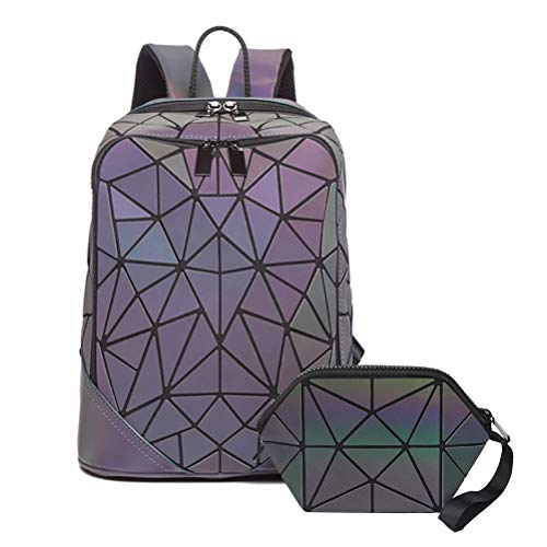 Creamon Geometric Luminous Backpack Set, Geometric Luminous Backpack Set Fashion Holographic Reflective Bag with Clutch for Women Assorted Color