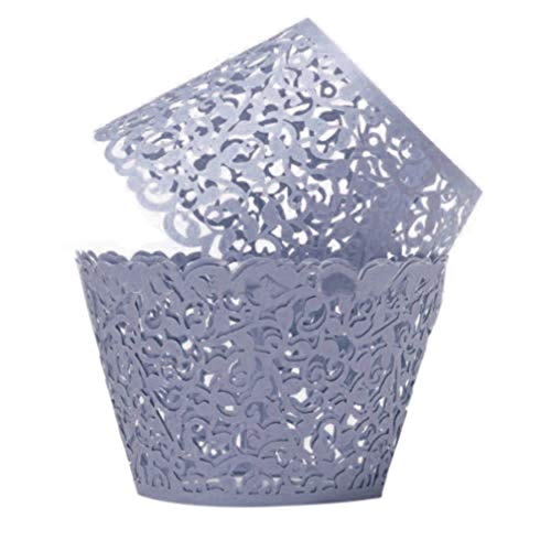 12X Wedding Birthday Baby Shower Filigree Vine Decor Wrapper Wraps Cupcake Cases - Violet liyhh