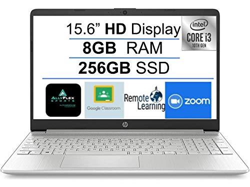"2021 Newest HP 15.6"" HD Laptop Notebook Computer, Intel 10th Gen Dual-Core i3-1005G1(Up to 3.4GHz), 8GB DDR4 RAM, 256GB PCIe SSD, Webcam, Bluetooth, Wi-Fi, HDMI, Type-C, Windows 10 S+AllyFlex MP"
