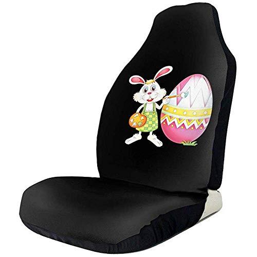 MJDIY Drivers Seat Cover, Easter Bunny uitstekende stoelhoezen voor voorstoelen voor autobestuurder, 2 stuks