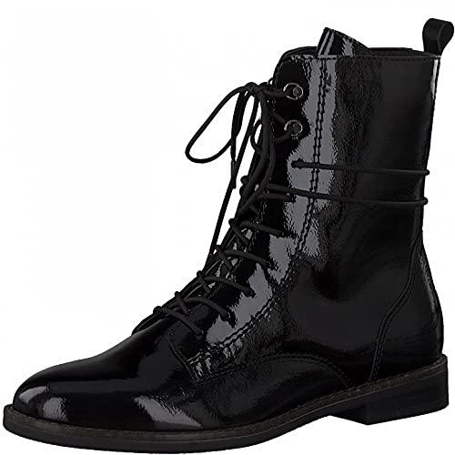 Tamaris Damskie buty sznurowane, botki damskie, komfortowa podszewka, wkładka dotykowa, - Czarny patent - 38.5 EU
