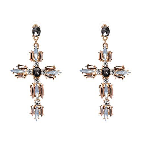 QIN Ethnic Vintage Color Gold Color Big Cross Stitch Pendientes Moda Perla Metal Pendientes Colgantes Pendientes Mujeres Fiesta Accesorios de Boda Regalo