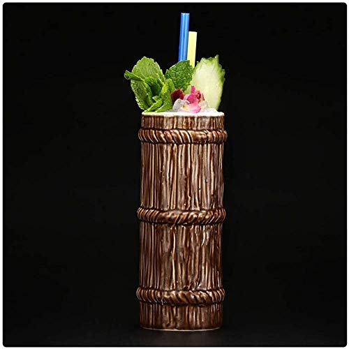 Tazas Tiki (450 ml/15 onzas), tazas de cerámica hawaiana para cócteles, tazas de cerámica hawaiana, vasos de cóctel exóticos, tiki Bar profesional para fiestas hawaianas