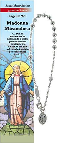 Pulsera Rosario Virgen de los Milagros con 11 cuentas de plata de 4 mm