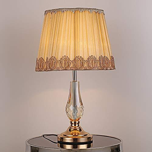 WSJTT Lámpara de escritorio moderna minimalista dorado hardware k9 lámpara de mesa de cristal para el hogar, sala de estar, dormitorio, mesita de noche, lámpara de escritorio de 35 x 52 cm
