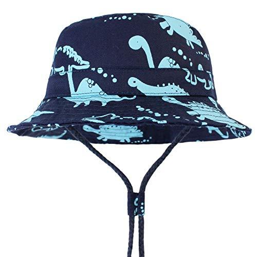 LAPOPNUT Sonnenhut Baby Mädchen und Jungen, Kleinkind Fisherhut Jungen Sommermütze mit Kinnriemen, UV-Schutz/Größe von 48 bis 54CM, Dinosaurier Hüte, Navy Big Dinosa