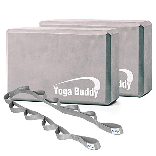 Roller Buddy Yoga Block Stretch Out Strap Set - Yoga Blocks 2 Pack with Physical Therapy Equipment Stretch Band, Yoga Bands, Yoga Accessories