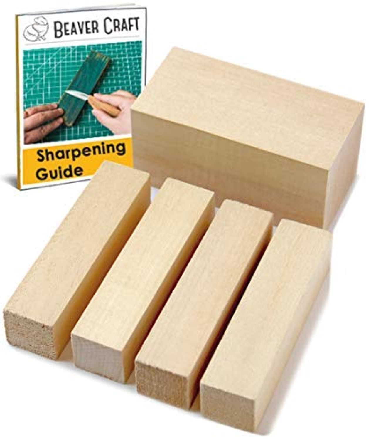 Premium Basswood Wood Carving Blocks Kit - Whittling Blanks Beginners Soft Wood Carving Block Set - Hobby Kit for Adults Creativity for Kids - Unfinished 5 Large Pieces Wood