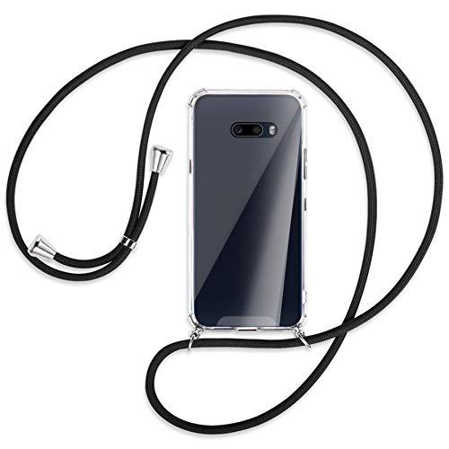 mtb more energy® Handykette kompatibel mit LG G8X ThinQ (LM-G850, 6.4'') - schwarz - Smartphone Hülle zum Umhängen - Anti Shock Full TPU Hülle