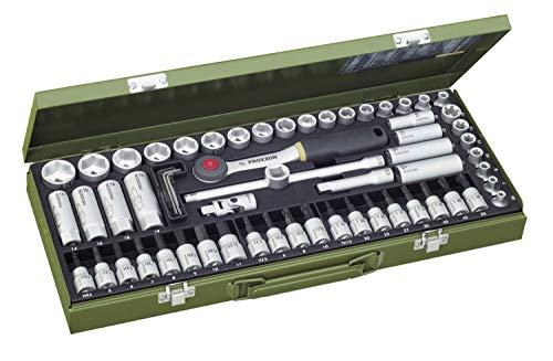 PROXXON Steckschlüsselsatz, Super-Kompaktsatz mit 3/8'-Umschaltratsche, 65-teiliges Werkzeug-Set mit Stahlkasten, 23112