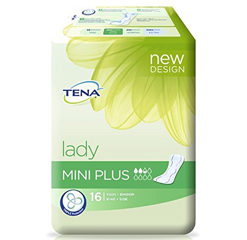 TENA 760301 Lady Mini Plus Incontinence Pad (Pack of 16)- Packaging May Vary