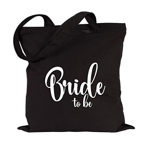 JUNIWORDS Jutebeutel, Wähle ein Motiv & Farbe, Bride to be (Beutel: Schwarz, Text: Weiß)