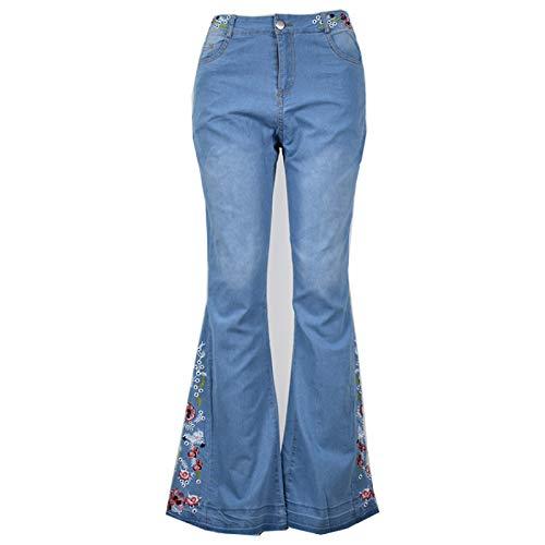 Luandge Pantalones de Mezclilla Acampanados Desgastados Bordados de Moda Informal para Mujer Pantalones Vaqueros Lavados Ajustados con Control de Barriga de Cintura Alta XL