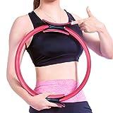 LongOu Anello Pilates Yoga-15 Pollici Doppi Circolo Pilates per Attrezzi da Ginnastica per Le Donne Anelli per Allenamento,Colore: Rosa