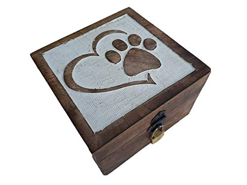 Holzspielzeug-Tom 24 Truhe mit Schloß Holztruhe Schatzkiste mit Schloss Schatztruhe Geschenk Geschenkbox Geburtstagsgeschenk verschließbar abschließbar mit Deckel (Herz mit Pfote 22x22x15cm)