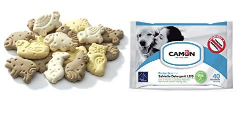 Camon - Lingettes à l'huile de neem et de lavande + Biscuits-récompense pour chiens en forme d'animaux