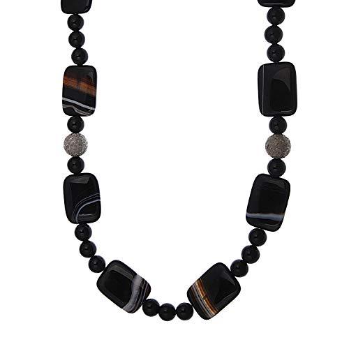 Collar de mujer con rayas de ágata y ónice, negro, 96 cm de largo, cadena de piedras preciosas infinitas