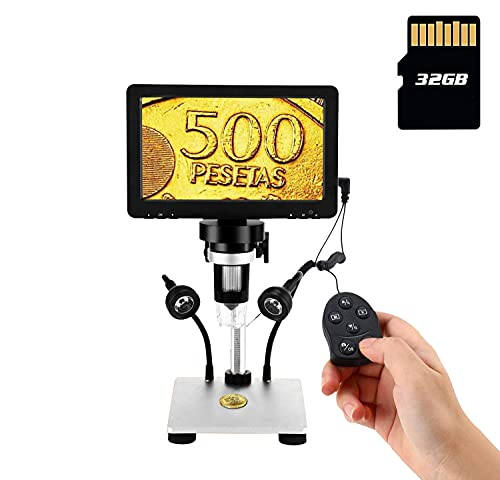 7'' LCD Digital Microscope 1080FHD Screen with 32G TF Card, Circuit Board Repair Soldering PCB Coins,12mp Camera Microscope,1-1200X Magnification for Adults Kids,PC View,Windows/Mac Compatible