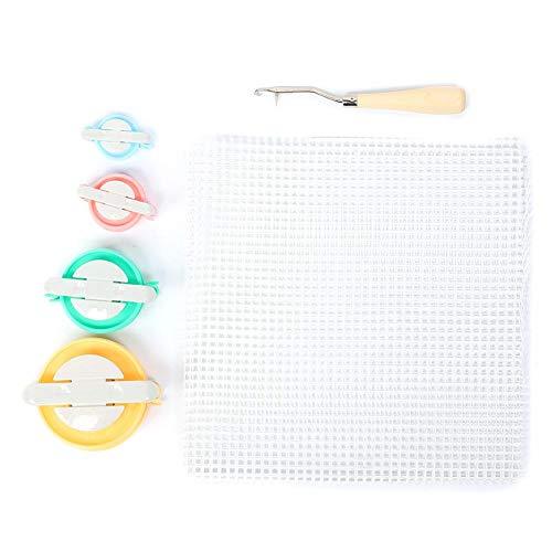 Kit de fabricación de alfombras de Ganchillo Artesanal Kit de Herramientas para Hacer Punto de Aguja de Ganchillo Tela de Malla, Tejido de Ganchillo y Bola de Pelusa