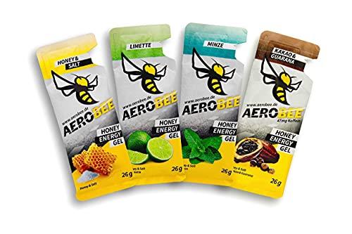 AEROBEE Energy Gel Probierpaket 4 x 26 g | Honey & Salt, Limette, Minze, Kakao & Guarana | 100% Natürliche Energie für Ausdauersport | Sehr Bekömmlich