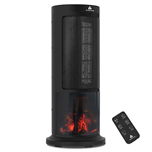 Sunday Living Space Heater with Realistic Flame Effect, 1500W Portable Ceramic Heater, Electric Tower Heater with Oscillation, Remote Control, Overheat and Tip-Over Protection, KPT-1605F