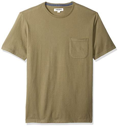 Amazon Brand - Goodthreads Men's Soft Cotton Short-Sleeve Crewneck Pocket T-Shirt, Olive, Large