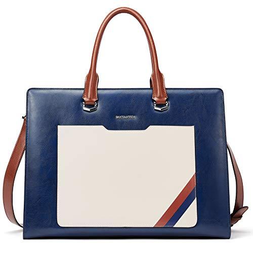 BOSTANTEN Damen Leder Aktentaschen 15.6 Zoll Laptop Handtasche Businesstasche Schultertasche Henkeltasche Tote Tasche Dunkelblau