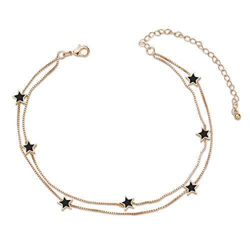 """SHEGRACE Damen Double Layered Star Fußkettchen Kupfer Knöchel Armband Verstellbare Fußkette Schmuck Geschenk für Frauen 8,27""""+3,15"""" Extender"""