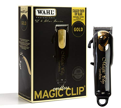 Wahl Profesional 5-Star Cordless Magic Clip Black Gold | Maquina Para Cabello | Ideal para Barbers y Stylists - Precisión Cordless Fade Clipper | Inalambrica |