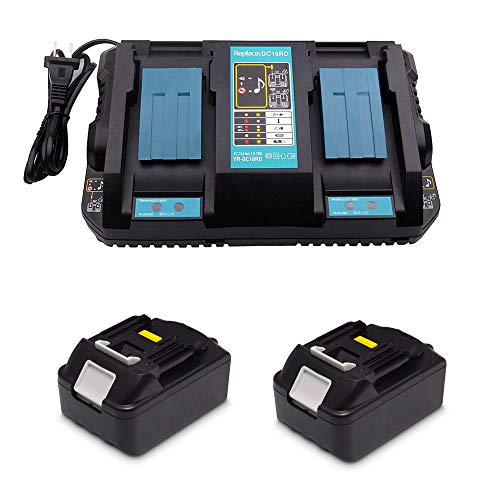 Ersatz 4A DC18RD Doppel-Ladegerät mit 2 Stück 18V 5.0Ah Akku für für Makita Baustellenradio DMR112 DMR110 DMR115 DMR114 DMR107 DMR108 DMR109 DMR106 18 Volt Radio Batterie