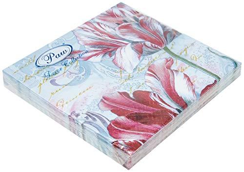 DECORLINE -20 Serviettes en Papier ' Majestic Tulips' - 33x33 cm-3 Plis
