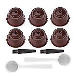 Paquete de 6 cápsulas de café reutilizables recargables para máquina Nescafe Dolce Gusto, tazas de colores con cepillo y cuchara, compatible con todos los Dolce Gusto, Circolor, Genio, Melody (marrón)