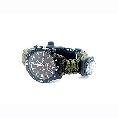 XHLLX 6 en 1 Montre De Bracelet De Survie Multifonctionnelle Extérieure, Bracelet De Kit De Survie, Y Compris Corde, Allume-Feu À Lame en Acier Inoxydable Compass,Vert