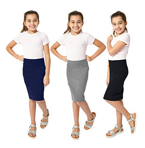 KIDPIK Girls Pencil Skirts (3 Pack) - Multi-Color - (X-Small (5/6), Grey/Navy/Black)