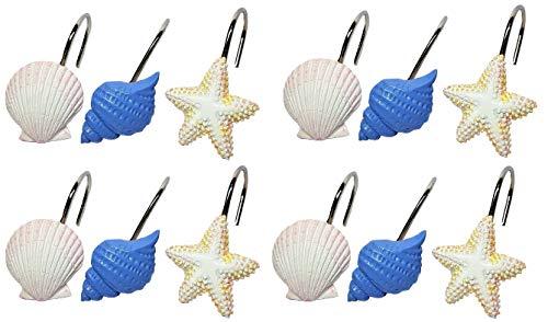 Ben&Jonah Set of 12 Decorative Resin Shower Curtain Hooks - Sea Shells and Stars