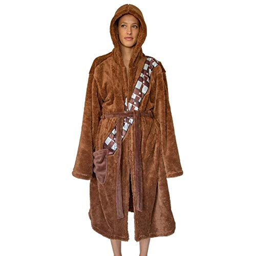 Star Wars Chewbacca Hooded Bathrobe for Men/Women | Soft Plush Spa Robe for Adults | Lightweight Fleece Shower Robe With Belted Tie | One Size Fits Most Adults