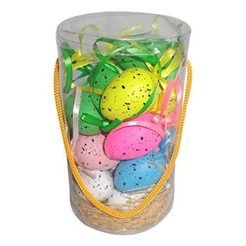 18 pezzi di uova di Pasqua Set Albero di Pasqua Ornamenti da appendere Decorati a mano Pasqua Giocattoli decorativi Pendente Regali per bambini