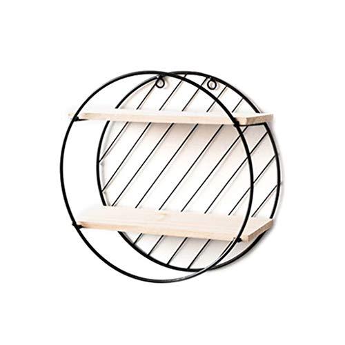 YO-HAPPY Estantes de Almacenamiento de Pared, estantes de Alambre de Metal de Madera con geometría Simple Moderna, decoración de exhibición para Dormitorio, Sala de Estar, Oficina