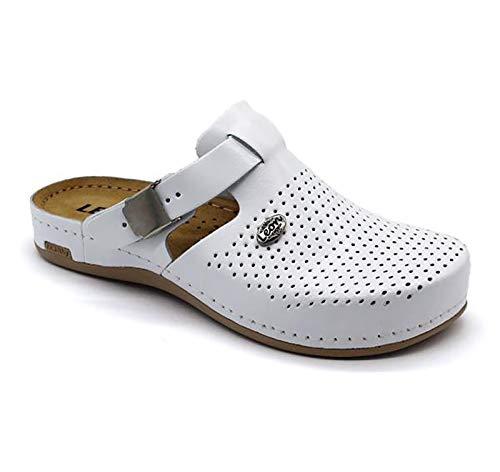 LEON 950 Zuecos Zapatos Zapatillas de Cuero para Mujer, Blanco, EU 41